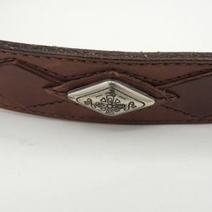 Vintage Fossil Leather Belt Silver Buckle Accents